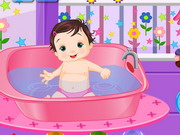 Playful baby bathing